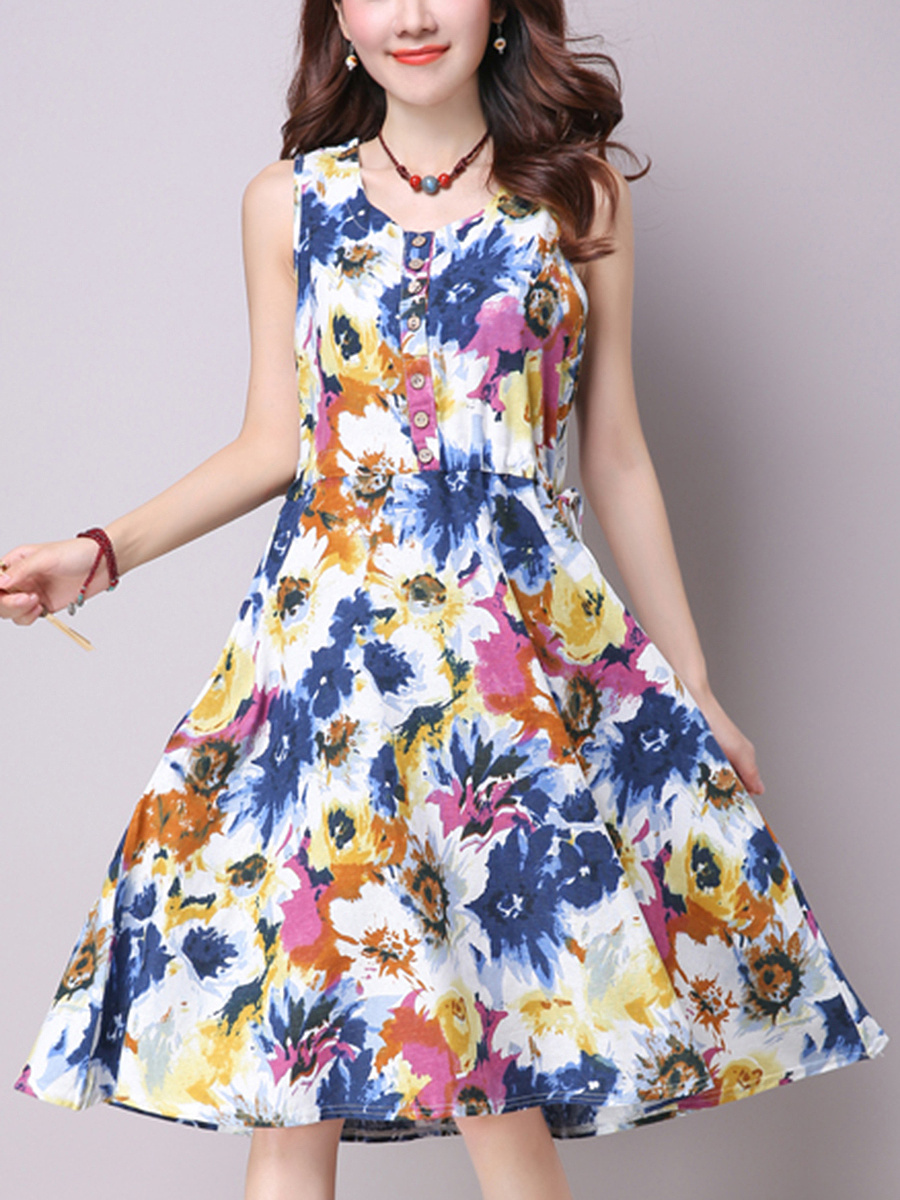 Round Neck Floral Printed Pocket Midi Skater Dress