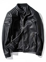 High-Neck-Pocket-Plain-PU-Leather-Men-Jacket