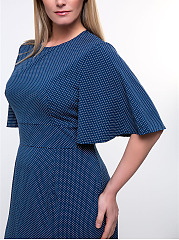 Polka Dot Cape Sleeve Round Neck Plus Size Bodycon Dress