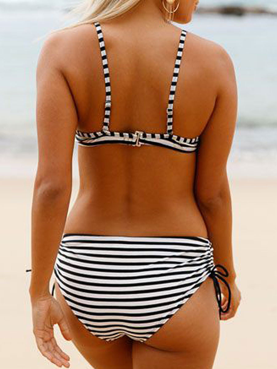 Backless  Striped  High-Rise Bikini For Women