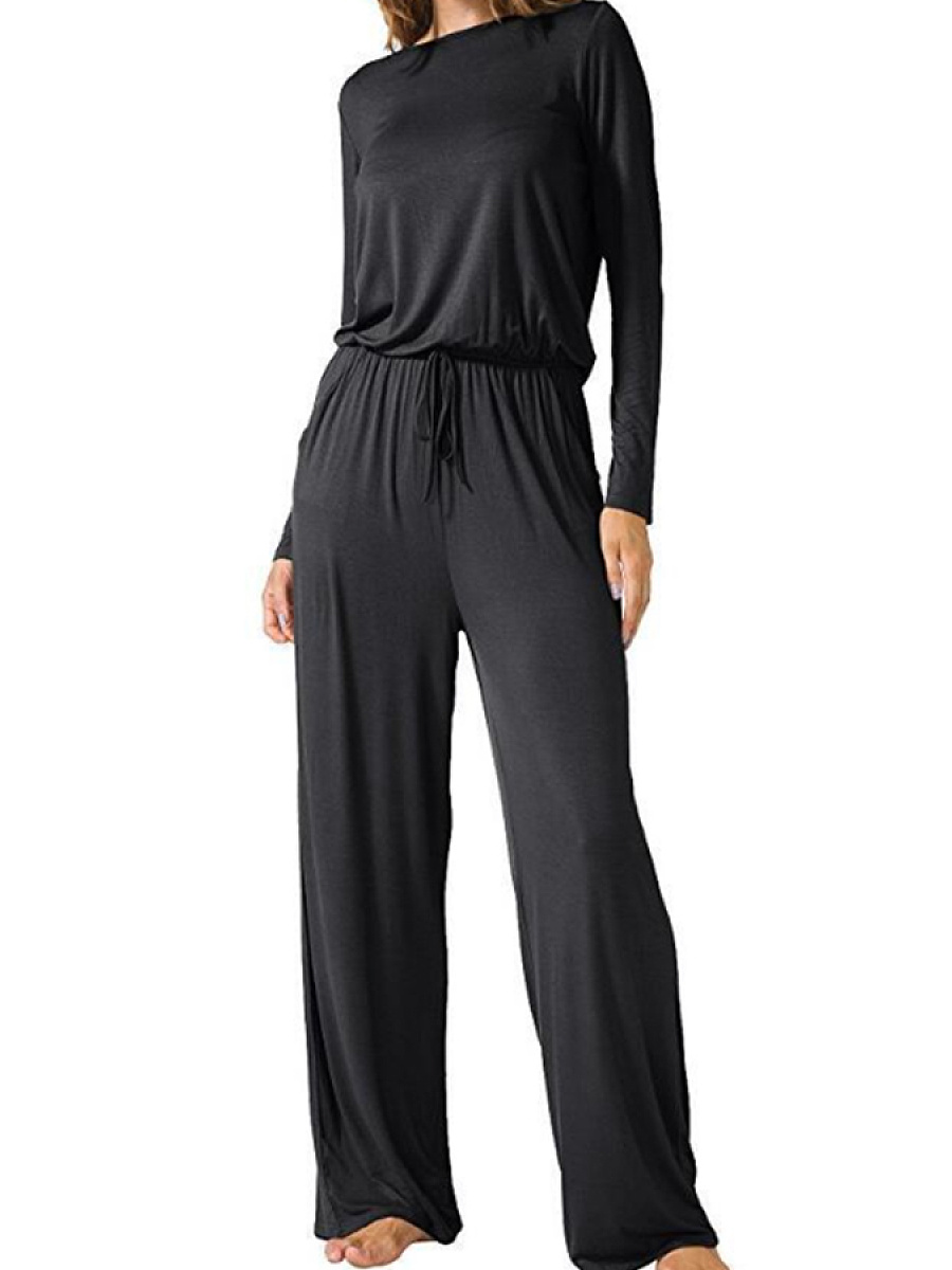 Crew Neck  Back Hole  Plain Rompers&Jumpsuits