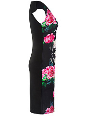 Summer Floral Printed Round Neck Bodycon Dress