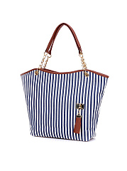 Chain Canvas Stripe Shoulder Bag