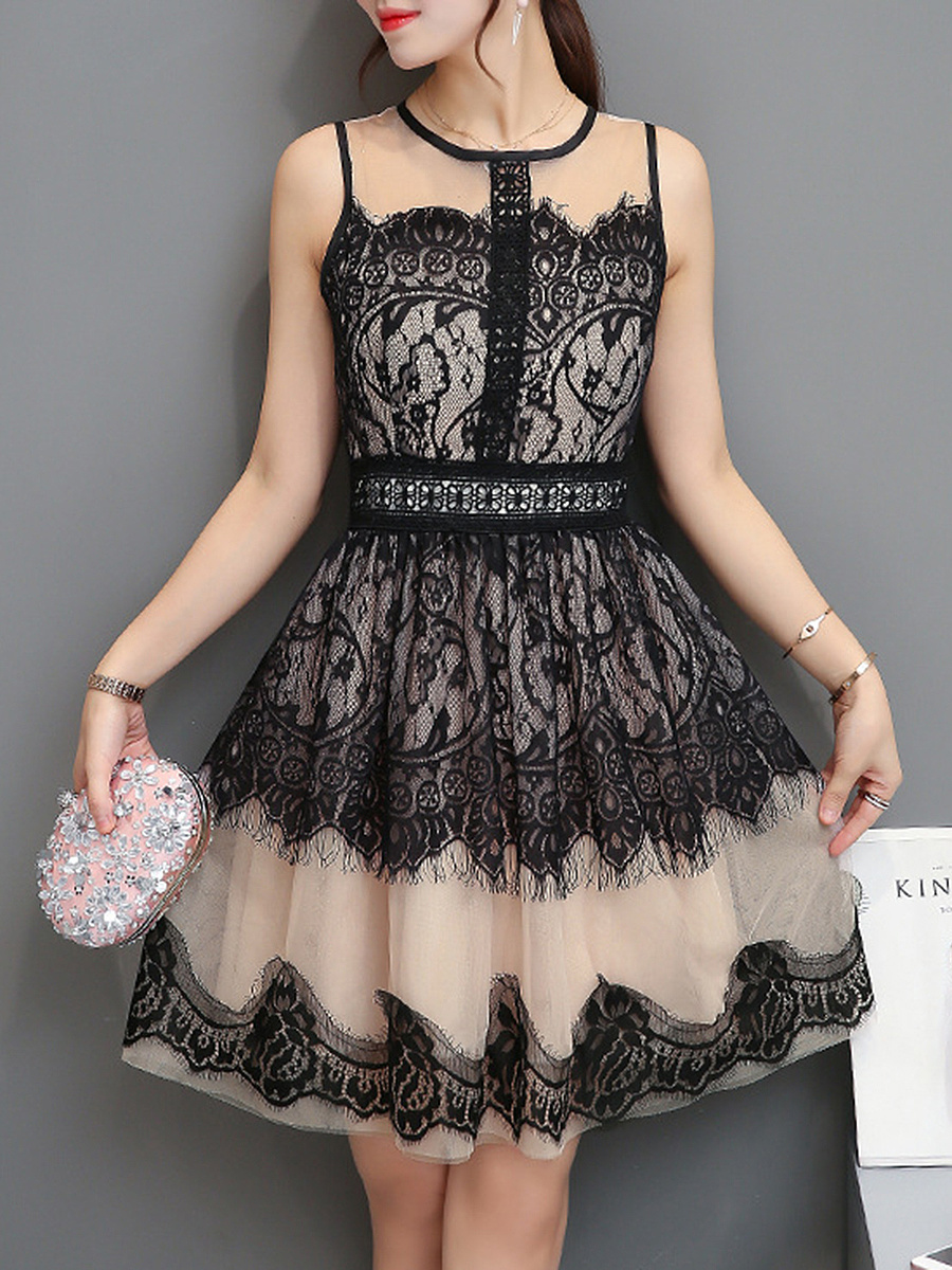 Round Neck Lace Hollow Out Skater Dress