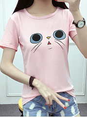 Spring Summer  Women  Animal Printed Short Sleeve T-Shirts