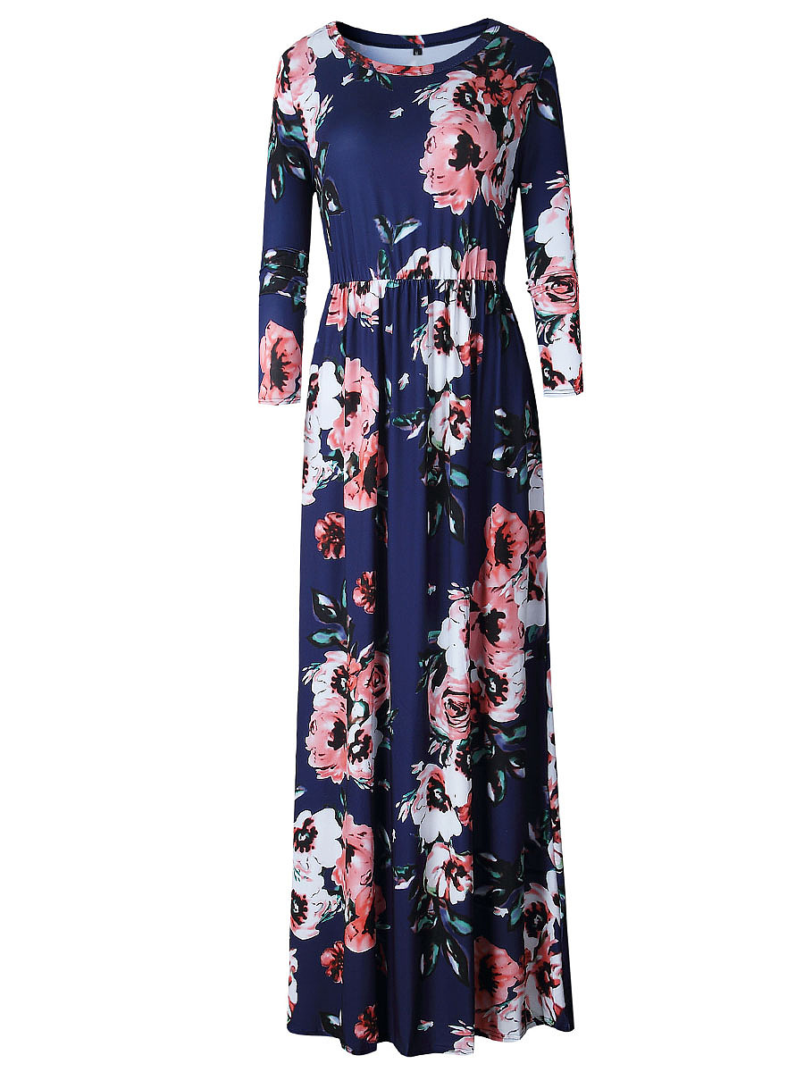Long Sleeve Floral Printed Round Neck Maxi Dress
