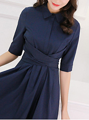Turn Down Collar  Ruffled Hem  Belt  Plain Skater Dress