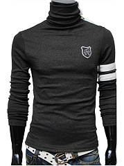 Men Turtleneck Embroidery Striped T-Shirt