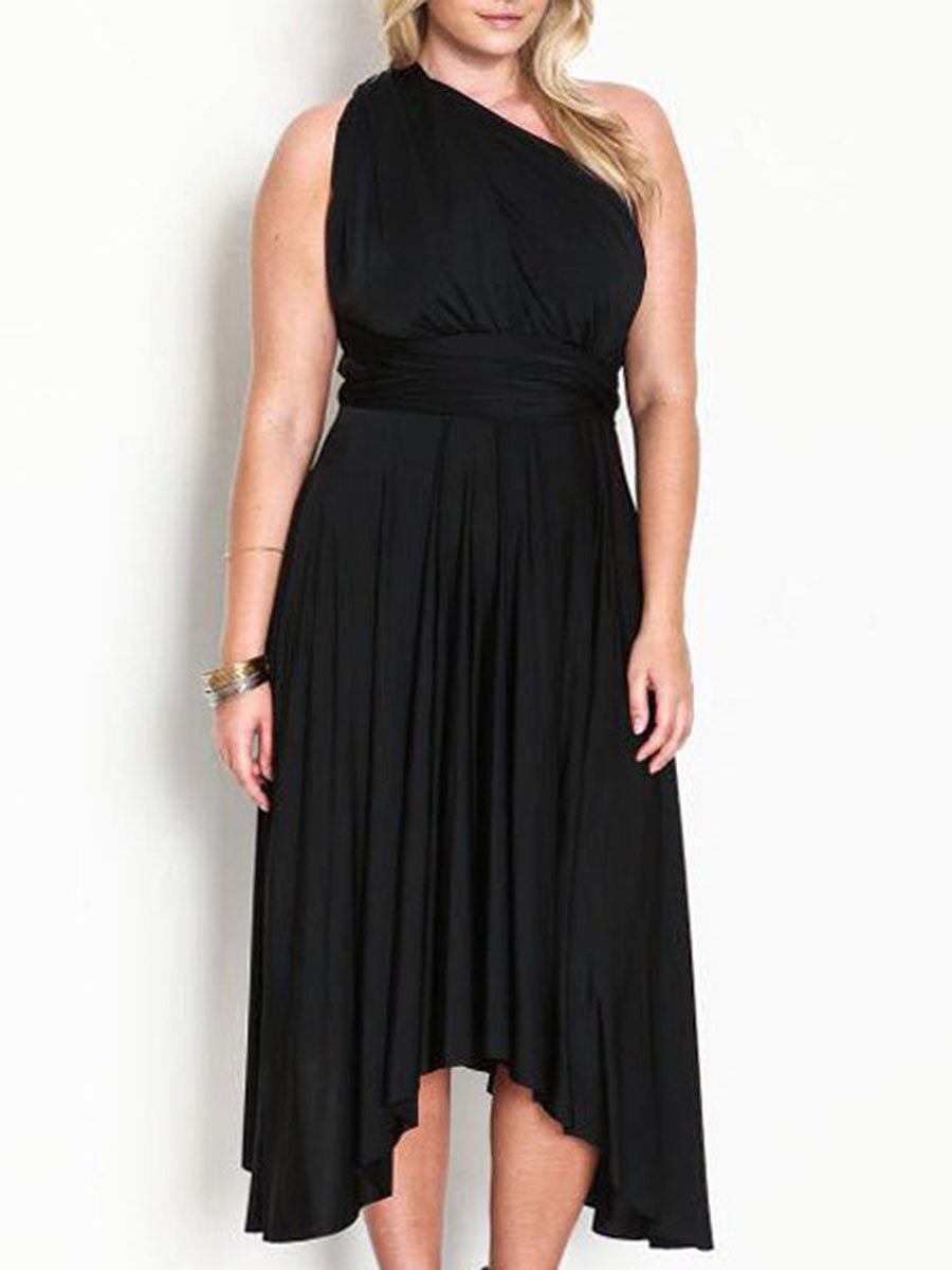 One Shoulder  Asymmetric Hem  Curved Hem  Plain Plus Size Midi & Maxi Dress