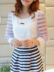 Spring Summer  Chiffon  Women  Round Neck  See-Through  Plain Striped  Three-Quarter Sleeve Blouses