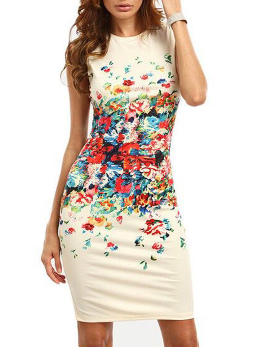Image For Sleeveless Round Neck  Floral Print Bodycon Dress