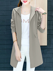 Hooded Pocket Plain Trench Coat