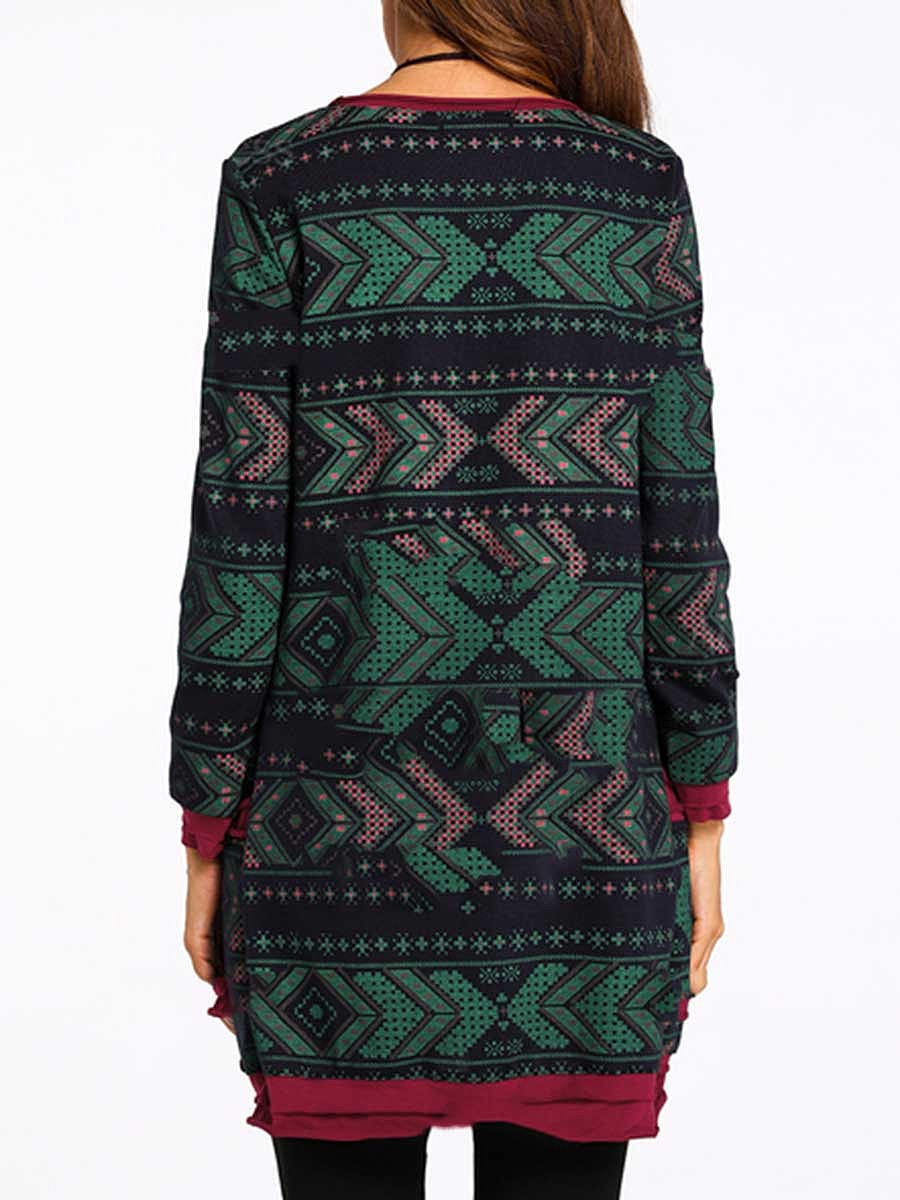 Round Neck  Color Block  Cotton Blend Shift Dress