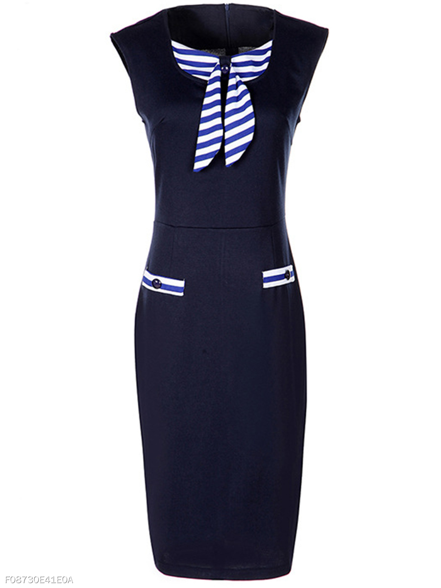 Elegant Round Neck Striped Bowknot Bodycon Dress
