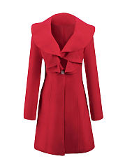 Flounce  Single Button  Plain Woolen Coat