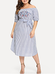 Open Shoulder  Lace-Up  Vertical Striped Plus Size Midi  Maxi Dress
