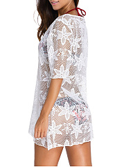 V-Neck See-Through Plain Half Sleeve Tunic