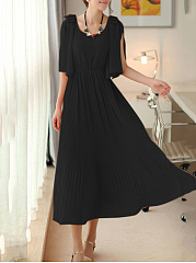 Round Neck  Bowknot Elastic Waist  Plain Maxi Dress