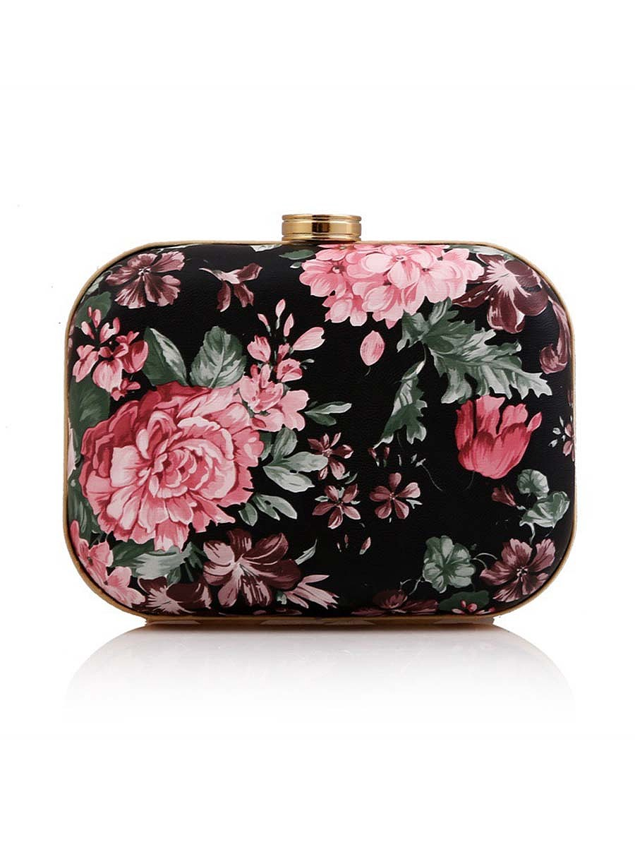 Floral Painting Chain Clutch Bag