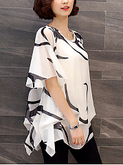 Summer  Chiffon  Round Neck  Hollow Out Printed  Cape Sleeve  Short Sleeve Blouses