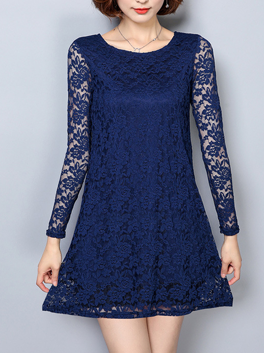 Lace See-Through Mini Plain Shift Dress