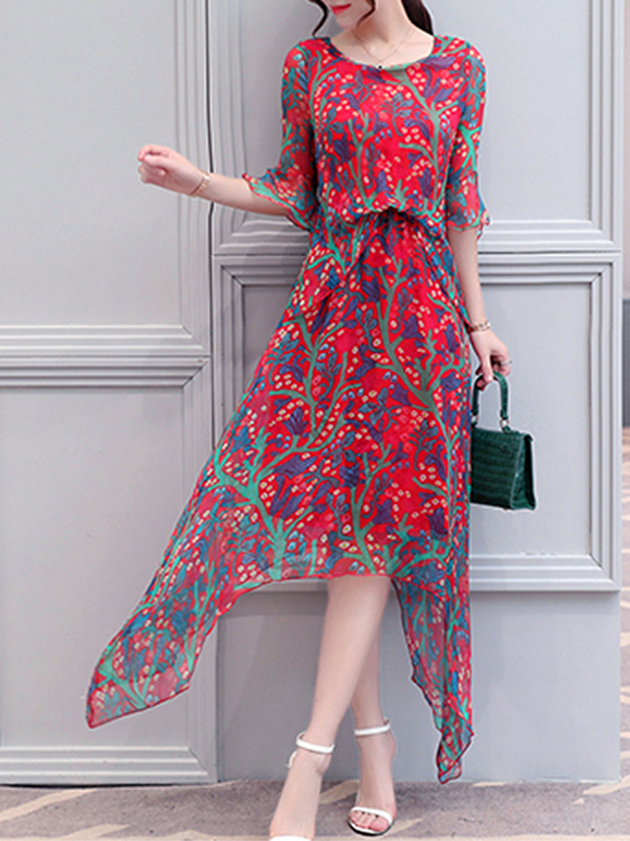 Round Neck  Asymmetric Hem Elastic Waist  Printed Maxi Dress