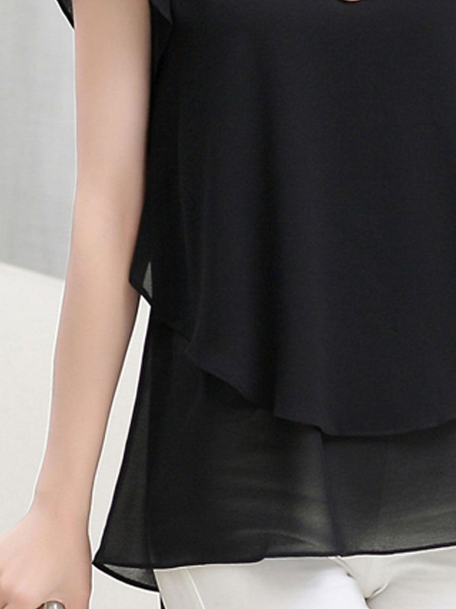 Spring Summer  Chiffon  Women  Round Neck  Asymmetric Hem Flounce  Plain  Short Sleeve Blouses