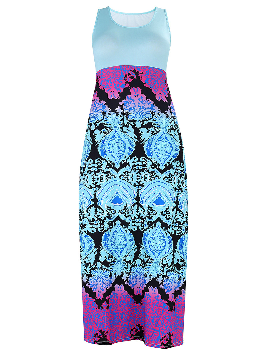 Round Neck Tribal Printed Sleeveless Maxi Dress