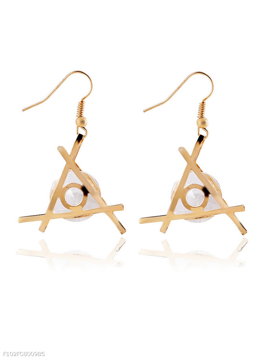 Triangle Faux Crystal Oval Earring