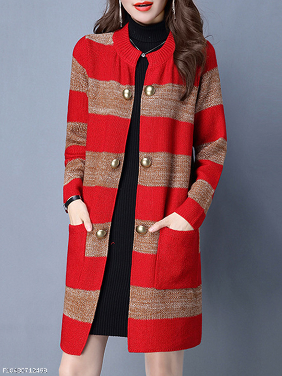 Collarless  Patch Pocket  Decorative Button  Striped  Long Sleeve Coats
