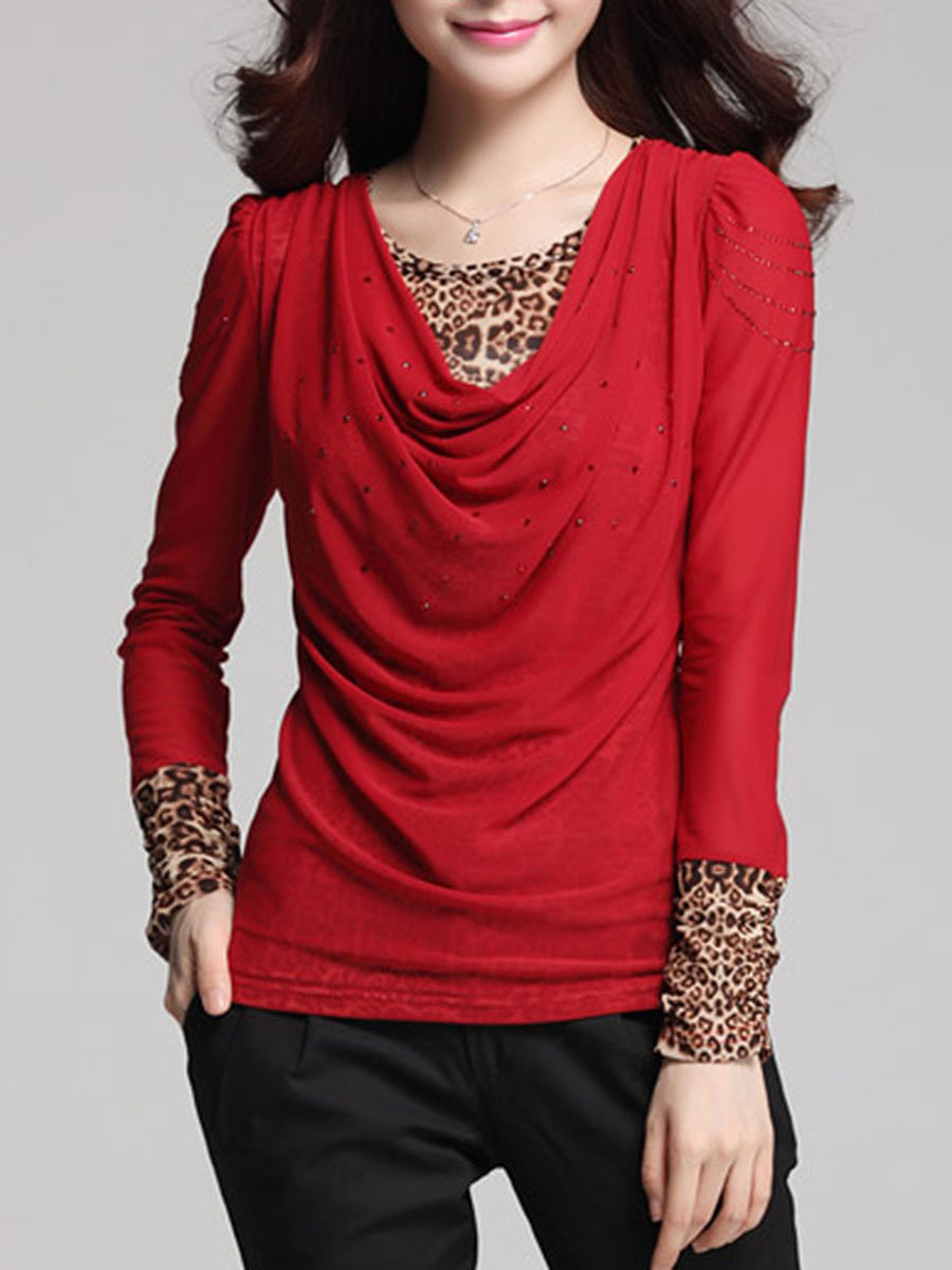 Leopard Ruched Round Neck Blouse