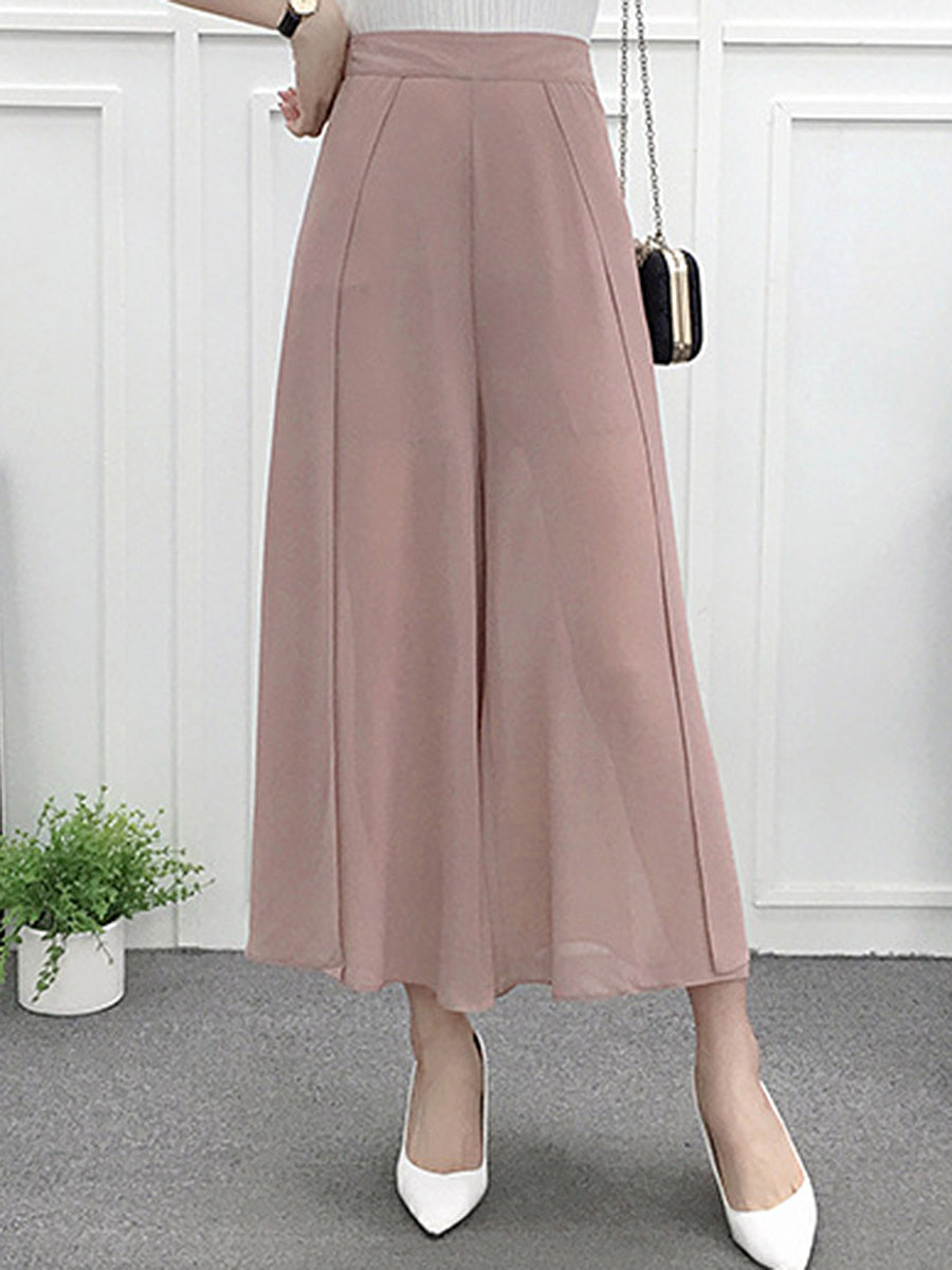 Plain Chiffon Slit Wide-Leg Casual Pants