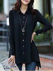 Button Down Collar  Asymmetric Hem  Plain Blouses