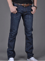 Ripped  Plain  Straight  Mid-Rise Men's Jeans
