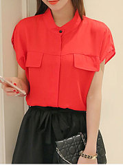 Summer  Polyester  Women  Round Neck  Flap Pocket  Decorative Button  Plain Blouses