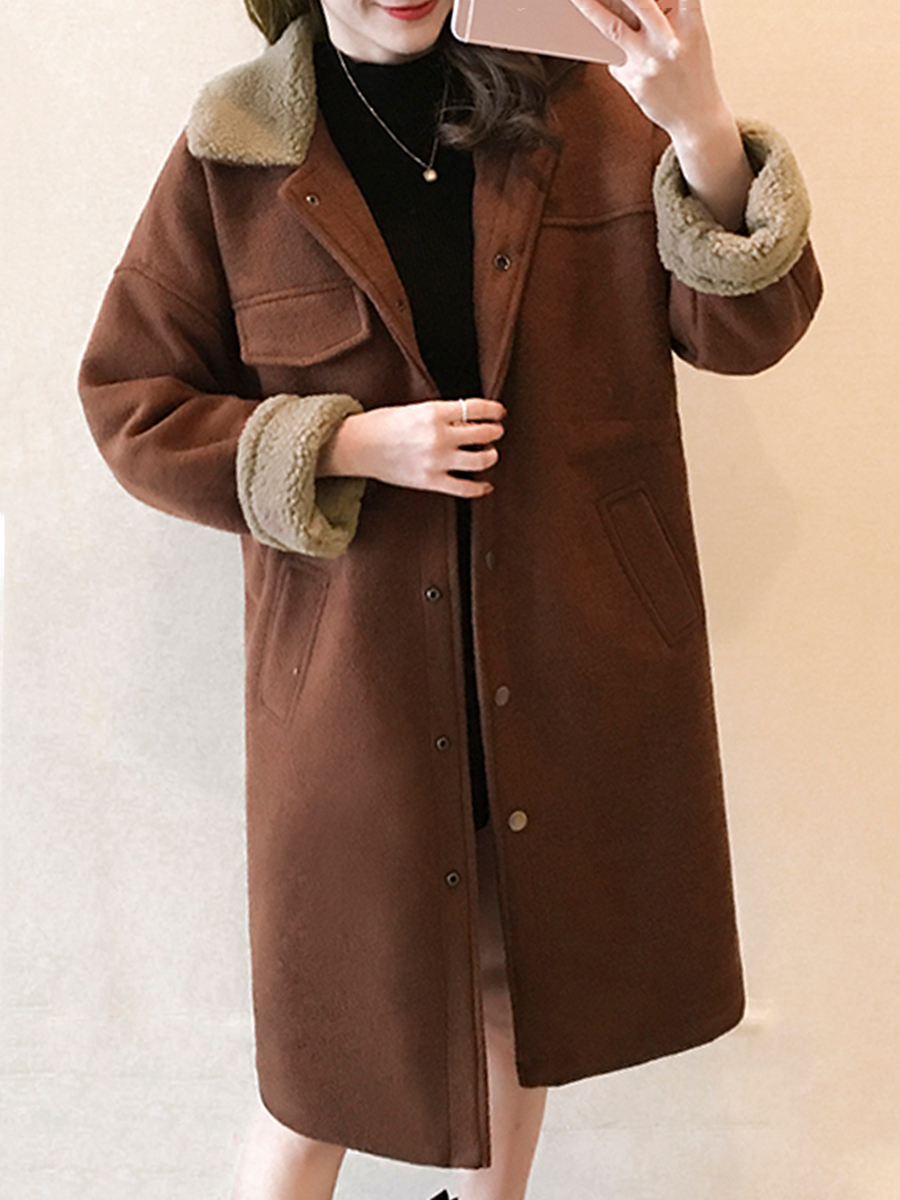 casual single breasted plain winter Doll Collar  Single Breasted  Plain  Raglan Sleeve  Long Sleeve Coats