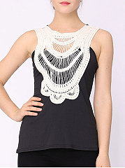 Summer  Polyester  Women  Halter  Decorative Lace  Plain Sleeveless T-Shirts