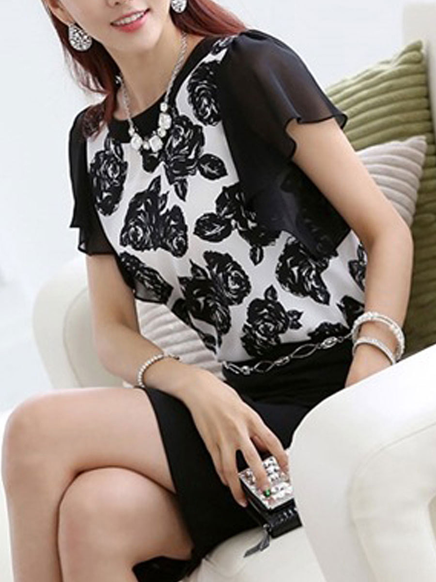Summer  Polyester  Women  Round Neck  Flap Pocket  Floral Printed  Short Sleeve Blouses