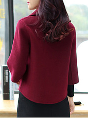 Lapel  Flounce  Curved Hem  Plain  Bell Sleeve  Three-Quarter Sleeve Coats