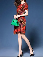 Round Neck  Asymmetric Hem  Printed Shift Dress