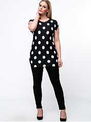 Round Neck Polka Dot Plus Size T-Shirt