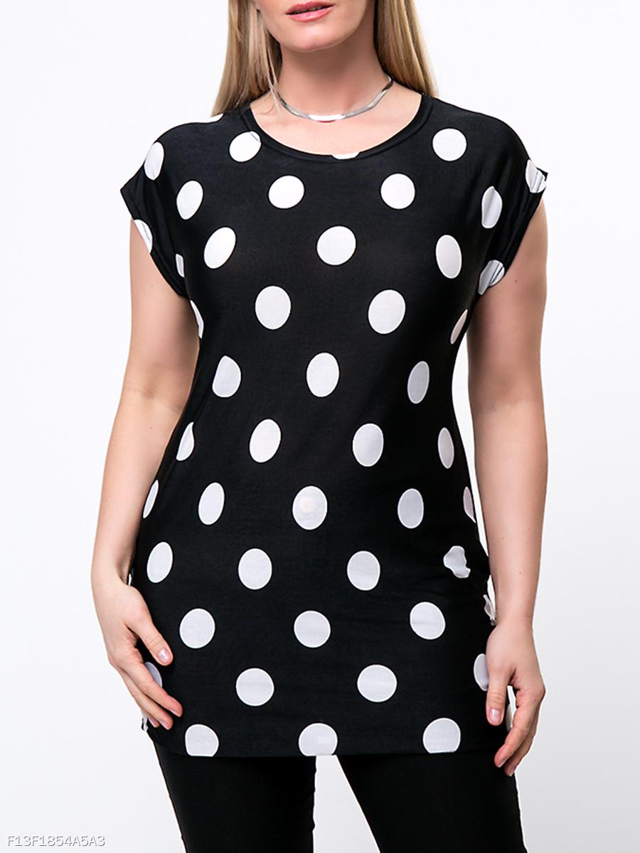 Risultati immagini per Products/round-neck-polka-dot-plus-size-t-shirt-179039.html