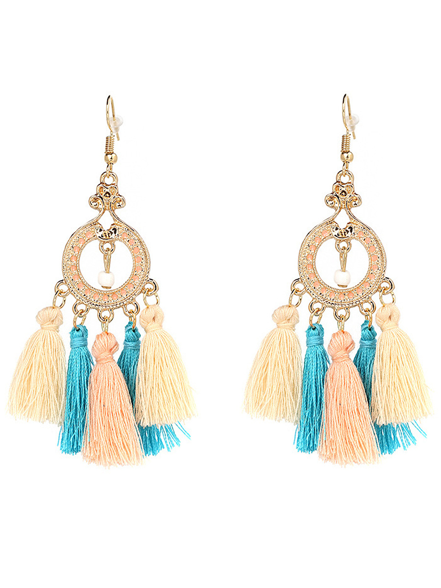 Statement Hollow Out Circle Tassel Drop Earrings