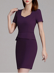 Designed Sweet Heart Plain Bodycon Dress