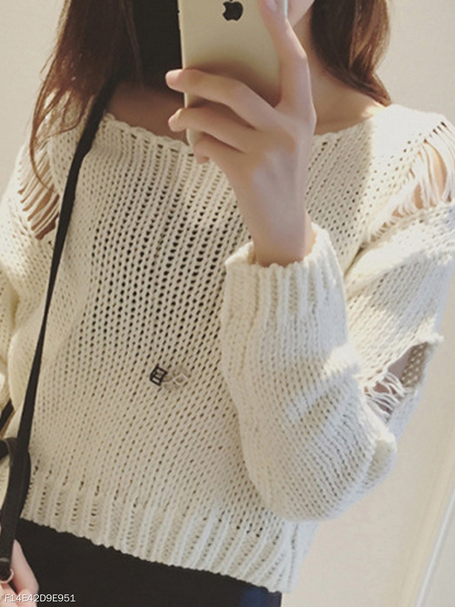 Round Neck  Hollow Out  Long Sleeve Sweaters Pullover