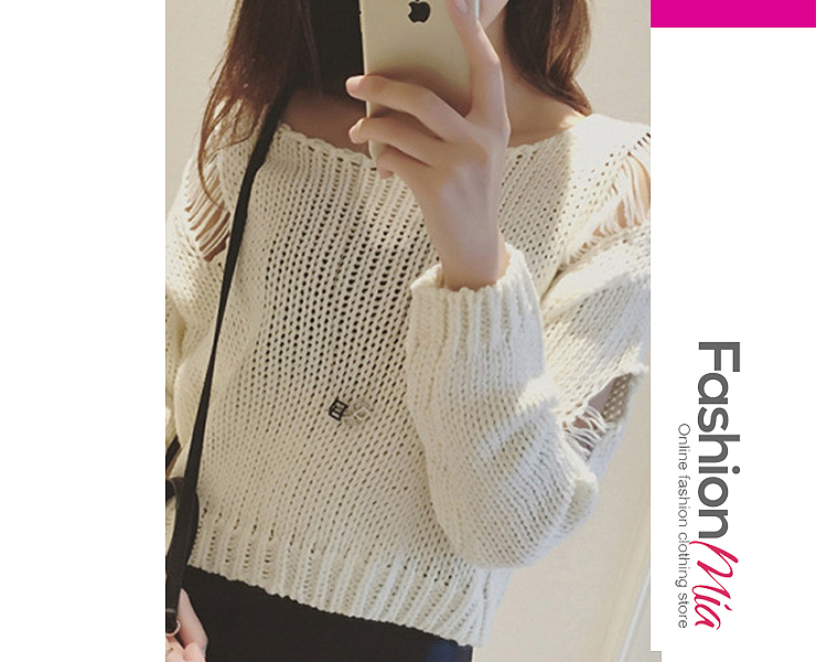 Round Neck  Hollow Out  Long Sleeve Sweaters Pullover F14E42D9E951