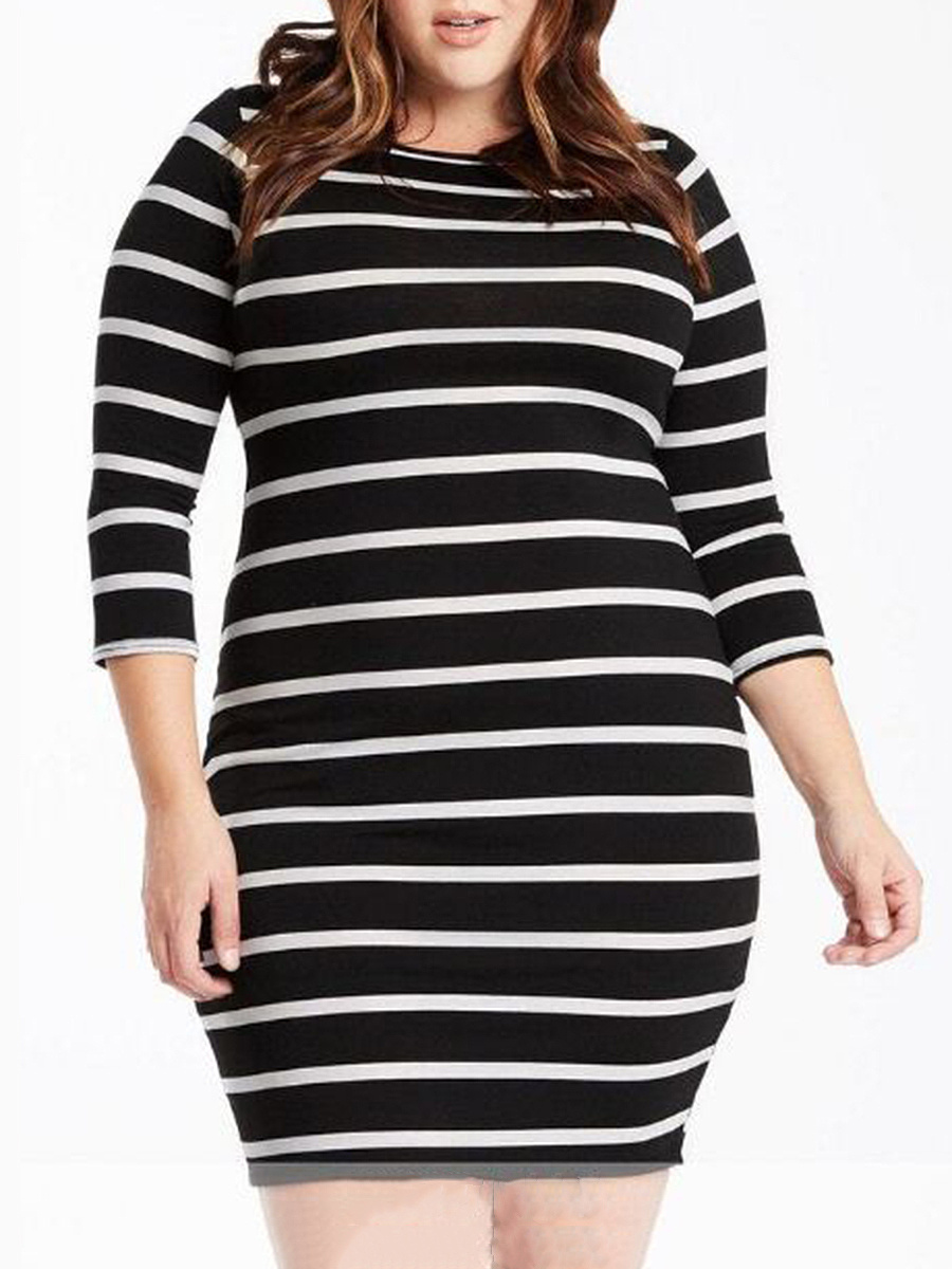 Striped Plus Size Bodycon Dresses