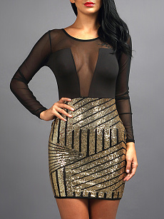 aad30c8319 Round Neck Patchwork See-Through Glitter Hot Cocktail Dress