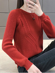 Round Neck  Geometric  Long Sleeve Sweaters Pullover