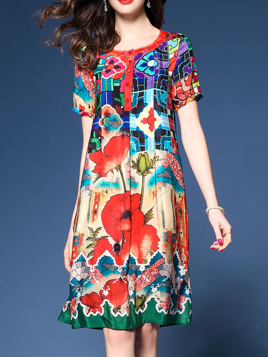 fashion printed casual spring shift Round Neck  Printed Shift Dress